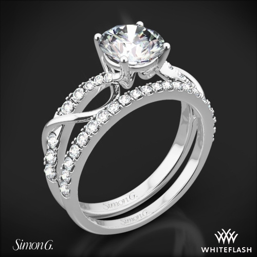 Simon G. MR2526 Fabled Crisscross Diamond Wedding Set