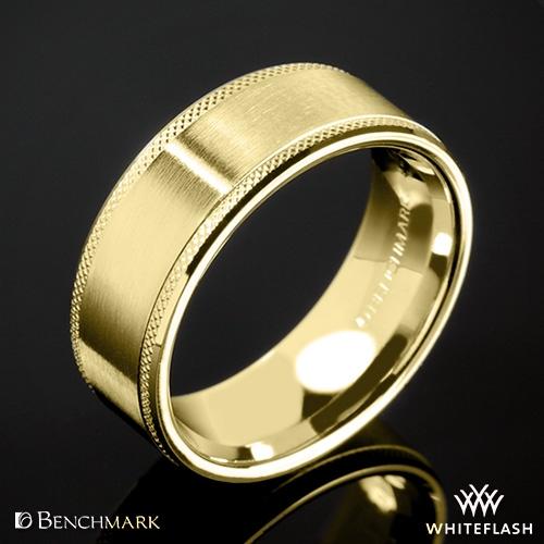 Benchmark CF68321 Knurled Spin Satin Wedding Ring