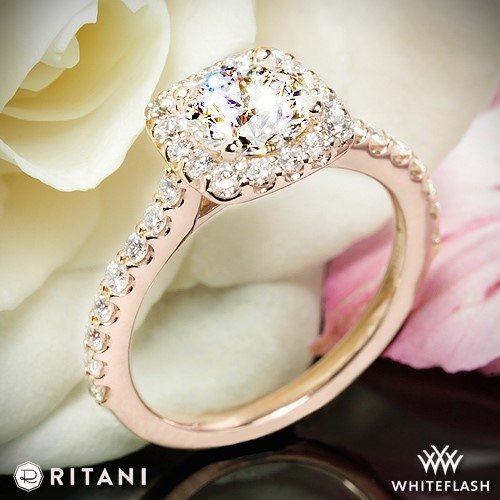 Ritani 1rz1321 French Set Halo Diamond Engagement Ring