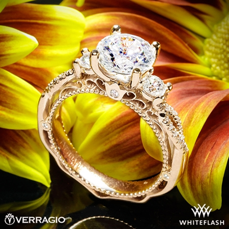 Verragio AFN-5013R-4 Beaded Twist Three Stone Engagement Ring