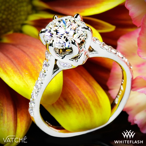 7d97d98b99257 18k White Gold Vatche 1054 Swan French Pave Diamond Engagement Ring