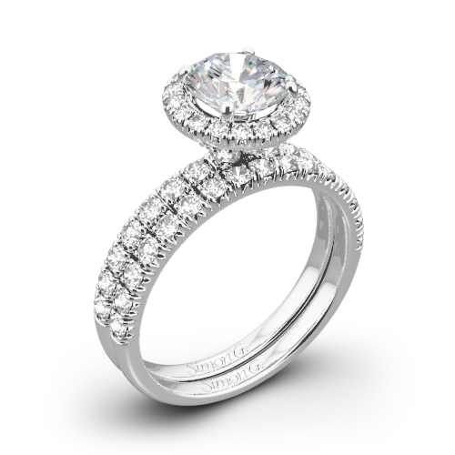 Simon G. MR1811 Passion Halo Diamond Wedding Set