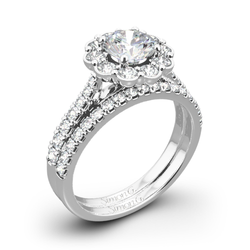 Simon G. MR2573 Passion Halo Diamond Wedding Set