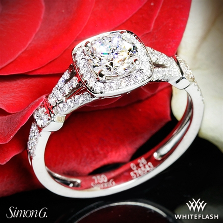 Simon G. TR418-D Delicate Halo Diamond Engagement Ring