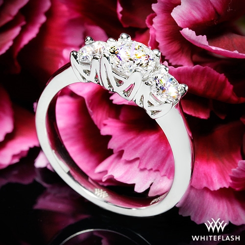 W-Prong Three Stone Engagement Ring