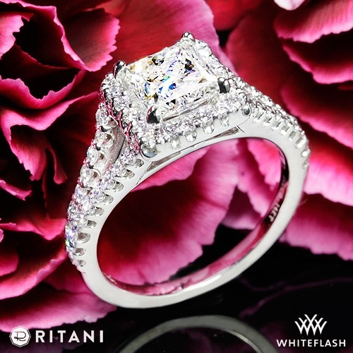 Ritani 1RZ1327 Cushion Halo V Diamond Engagement Ring