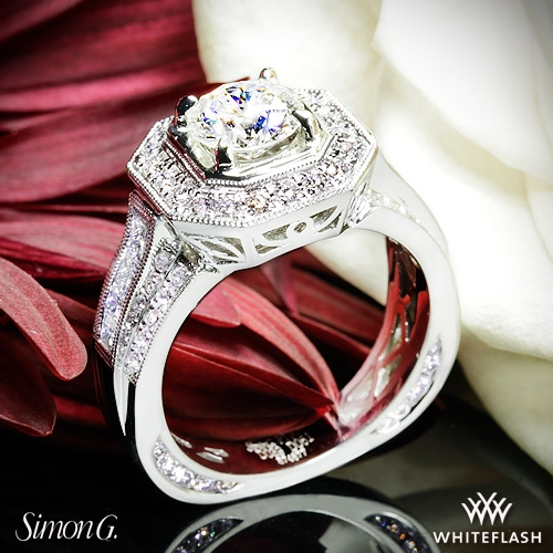 Simon G. NR109 Passion Halo Diamond Engagement Ring