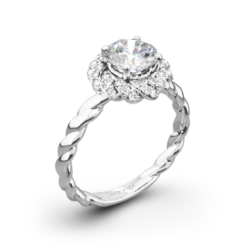 Simon G. LR1133 Classic Romance Halo Diamond Engagement Ring