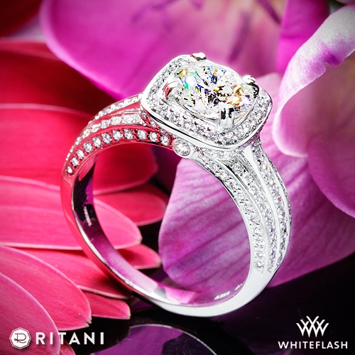Ritani 1RZ3156 Masterwork Cushion Halo Triple Diamond Engagement Ring