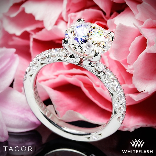 Tacori HT2545RD Petite Crescent Scalloped Millgrain Diamond Engagement Ring