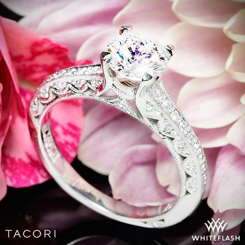 Tacori 2616RD Classic Crescent Pave Half Eternity Diamond Engagement Ring