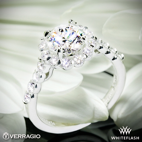 1 14ct F Vs1 A Cut Above Round Diamond Set In Verragio Ins 7033 Halo Engagement Rin Solitaire Rings
