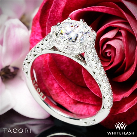 Tacori HT2555RD Petite Crescent Halo Diamond Engagement Ring