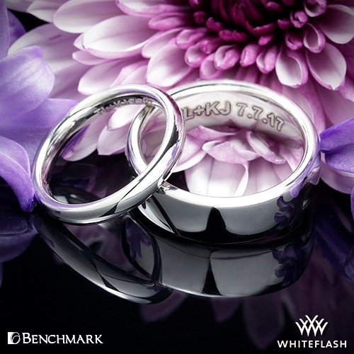 Benchmark Wedding Rings Engraved by Whiteflash