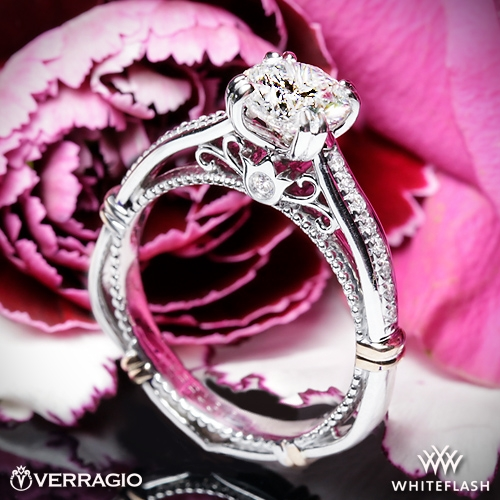 ab4bc1c113038 14k White Gold Verragio Parisian D-101S Shared-Prong Split Claw Diamond  Engagement Ring with Rose Gold Wraps