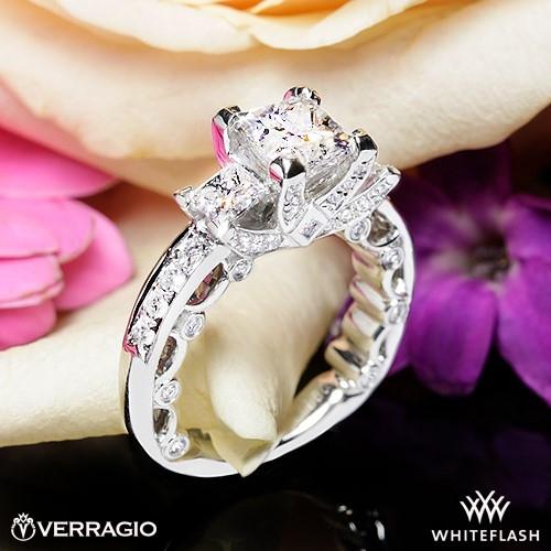 Bead Set Princess 3 Stone Engagement Ring By Verragio 1802