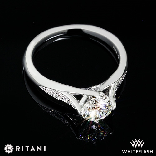 66ffe2ff217a4 Ritani Modern Arched Micro Pave Diamond Engagement Ring | 4493