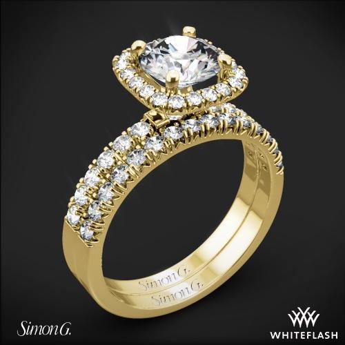 Simon G. MR2132 Passion Halo Diamond Wedding Set