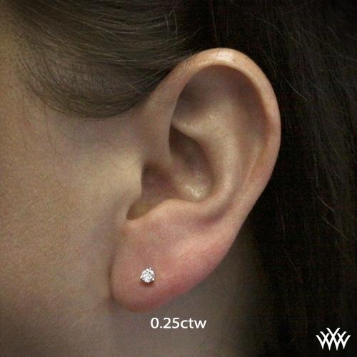14k White Gold 3 G Martini Diamond Earrings Settings Only