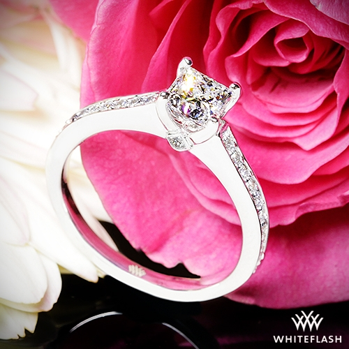 01c711512 0.804ct F VS1 A CUT ABOVE Princess Diamond set in Scarlet Diamond  Engagement Ring