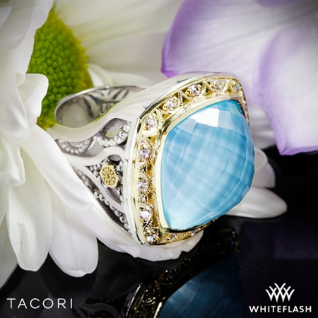 Tacori SR101Y05 Barbados Blue Clear Quartz over Neolite Turquoise and Diamond Ring
