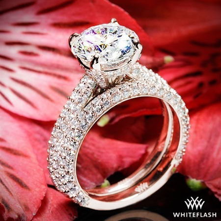 Elena Rounded Pave Diamond Wedding Set