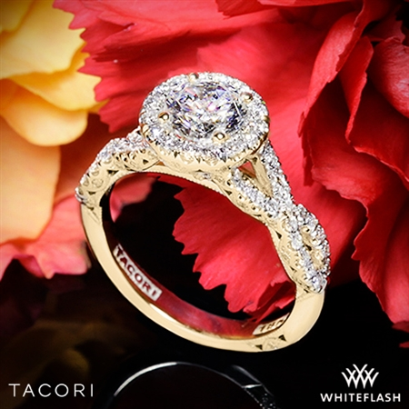 Tacori HT2549 Petite Crescent Twisted Diamond Halo Engagement Ring