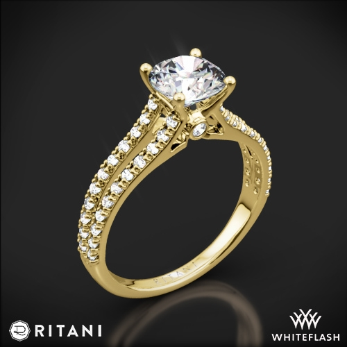 Ritani 1RZ2488 Double French-Set V Diamond Engagement Ring