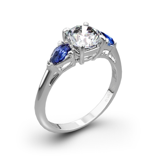 Vatche 310 Round and Sapphire Pear Three Stone Engagement Ring