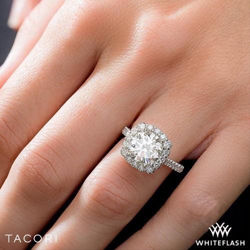 f9fefc629bece 18k White Gold Tacori 55-2CU Full Bloom Cushion Halo Solitaire Engagement  Ring