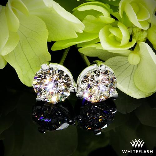 ebdd82679 0.64ct K SI1 A CUT ABOVE Round Diamond set in 3 prong Martini Diamond  Earrings
