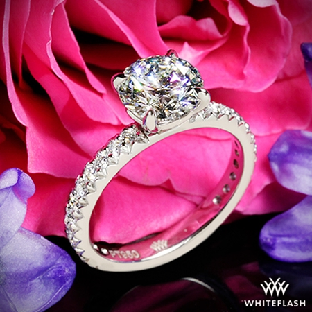 We are delighted with the ring. The diamond is clear and brilliant and the setting is an elegant match.