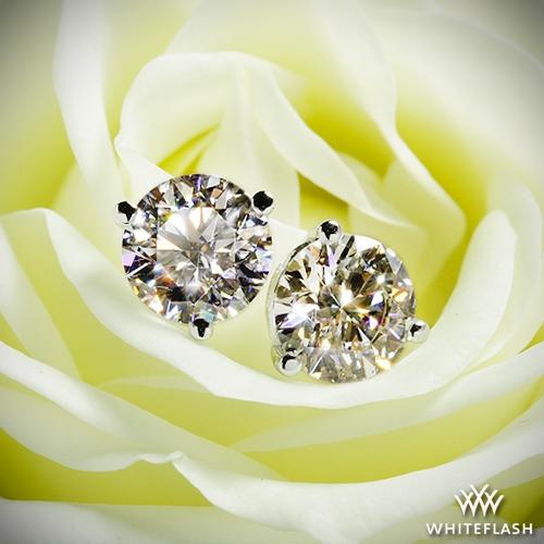 245931c4e 1.098ct J VS1 A CUT ABOVE Round Diamond set in 3 prong Martini Diamond  Earrings