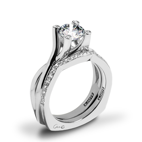 A. Jaffe MES463 Seasons of Love Solitaire Wedding Set