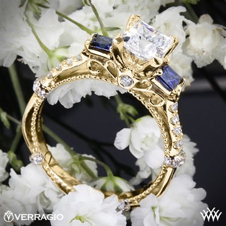 Verragio Parisian DL-124P Shared-Prong Princess and Sapphire 3 Stone Engagement Ring
