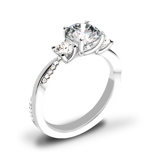 Valoria Flora Twist Three Stone Diamond Engagement Ring