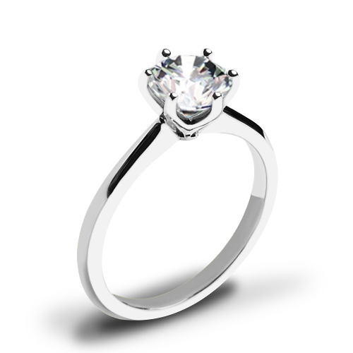 Valoria Petite Six Prong Solitaire Engagement Ring
