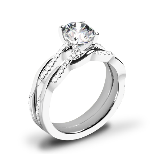 Valoria Flora Twist Diamond Wedding Set