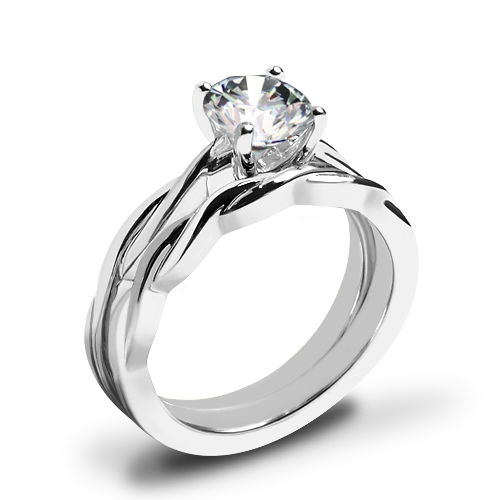 Valoria Flora Twist Solitaire Wedding Set