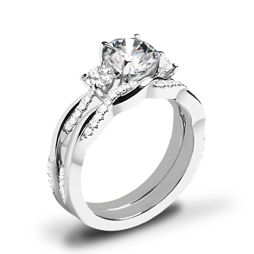 Valoria Flora Twist Three Stone Diamond Wedding Set