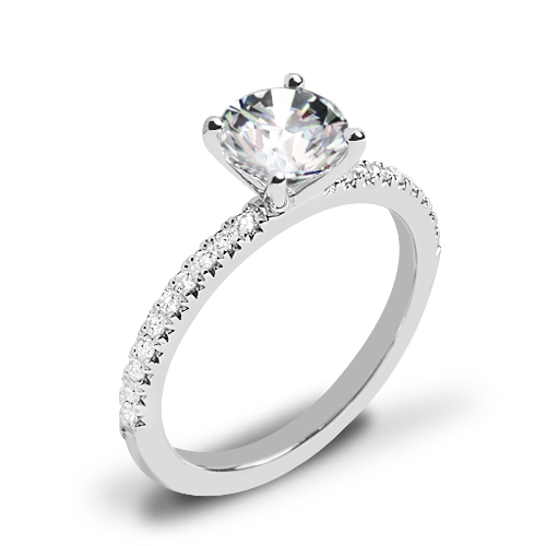 Valoria Petite Pave Diamond Engagement Ring