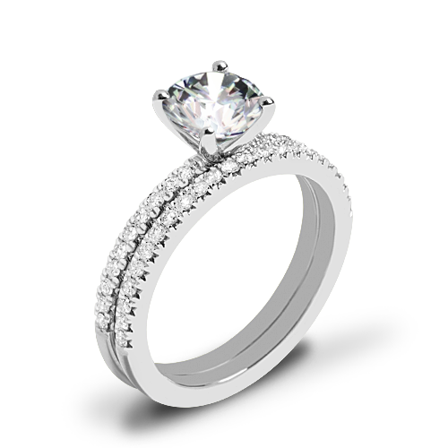 Valoria Petite Pave Diamond Wedding Set