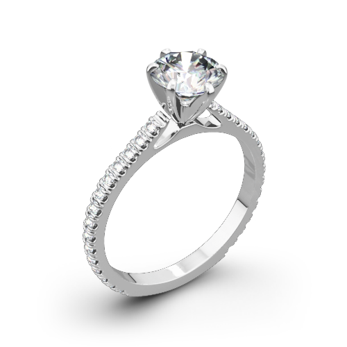 Valoria Cathedral French-Set Diamond Engagement Ring