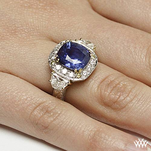 Queen Elizabeth Blue Sapphire Diamond Right Hand Ring