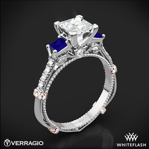 Verragio DL-124P Shared-Prong Sapphire Three Stone Engagement Ring for Princess